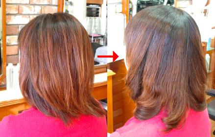 この写真のような縮毛矯正+(デジタル)パーマは進化したシステム:マレーア・レナータ縮毛矯正+カール(パーマ)へ転換しています。なおこの施術に用いたミコノスは既に廃盤になりました。