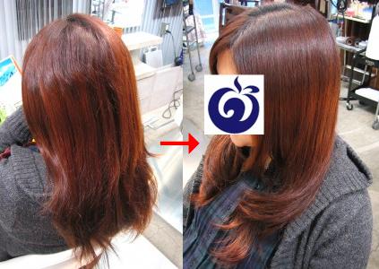 この写真のような縮毛矯正+(デジタル)パーマは進化したシステム:マレーア・レナータ縮毛矯正+デジタルカール(パーマ)へ転換しています。なおこの施術に用いたミコノスは既に廃盤になりました。