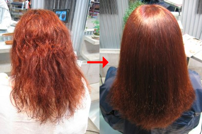 この写真のような施術をされていた97%の美容室は進化したシステム:マレーア・レナータ縮毛矯正施術へ転換しています。なおこの施術に用いたミコノスは既に廃盤になりました。
