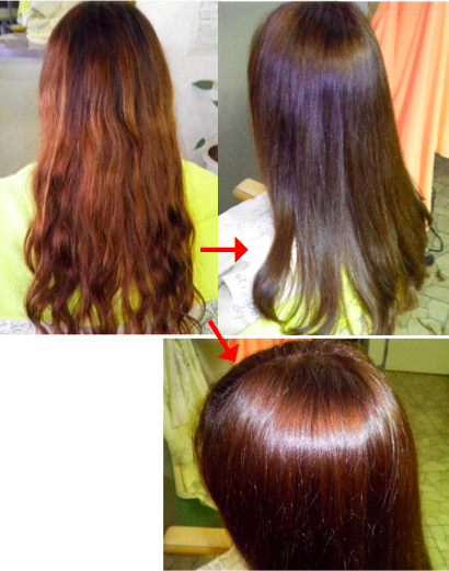 この写真のような縮毛矯正は進化したシステム:マレーア・レナータ縮毛矯正+カラー施術へ転換しています。なおこの施術に用いたミコノスは既に廃盤になりました。