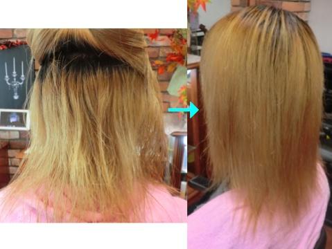 ブリーチ毛もサラサラ!この写真のような縮毛矯正は進化したシステム:マレーア・レナータ縮毛矯正施術へ転換しています。なおこの施術に用いたミコノスは既に廃盤になりました。