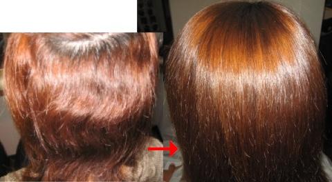 この写真のような縮毛矯正+カラーをしていた97%の美容室は進化したシステム:マレーア・レナータ縮毛矯正&カラーへ転換しています。なおこの施術に用いたミコノスは既に廃盤になりました。