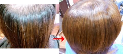 この写真のような縮毛矯正+カラー施術をされていた97%の美容室は進化したシステム:マレーア・レナータ縮毛矯正+カラー施術へ転換しています。なおこの施術に用いたミコノスは既に廃盤になりました。