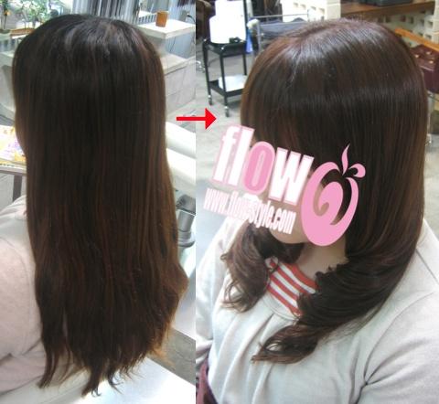 この写真のような縮毛矯正+パーマ+カラー施術は進化したシステム:マレーア・レナータ縮毛矯正+カール+カラー施術へ転換しています。なおこの施術に用いたミコノスは既に廃盤になりました。