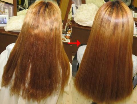 ブリーチ毛:この写真のような縮毛矯正は進化したシステム:マレーア・レナータ縮毛矯正施術へ転換しています。なおこの施術に用いたミコノスは既に廃盤になりました。