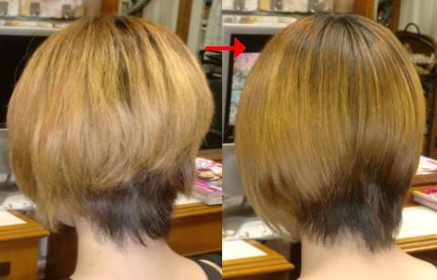この写真のようなブリーチ毛の縮毛矯正は進化したシステム:マレーア・レナータ縮毛矯正施術へ転換しています。なおこの施術に用いたミコノスは既に廃盤になりました。