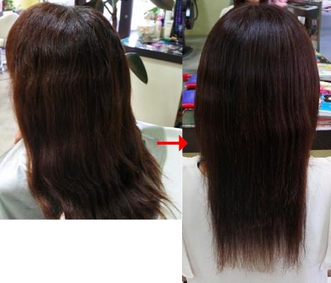この写真のように縮毛矯正をされていた90%以上の美容室は進化したシステム:マレーア・レナータ縮毛矯正施術へ転換しています。なおこの施術に用いたミコノスは既に廃盤になりました。