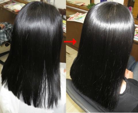 この写真のような縮毛矯正+パーマ施術は進化したシステム:マレーア・レナータ縮毛矯正+カール施術へ転換しています。なおこの施術に用いたミコノスは既に廃盤になりました。