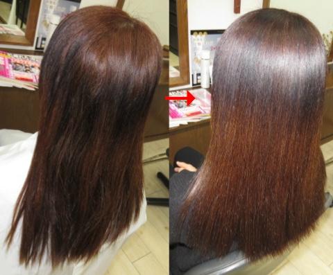 この写真のような縮毛矯正&カラーは進化したシステム:マレーア・レナータ縮毛矯正&カラー施術へ転換しています。なおこの施術に用いたミコノスは既に廃盤になりました。