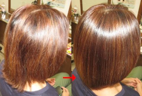 この写真のような縮毛矯正は進化したシステム:マレーア・レナータ縮毛矯正施術へ転換しています。なおこの施術に用いたミコノスは既に廃盤になりました。